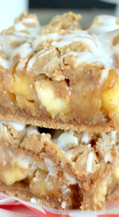 Caramel Apple Bars= made with a spice cake mix, apples, white choc. chips, and caramel apple dip