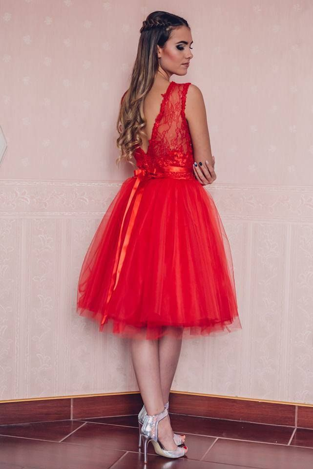 Cocktail dress by Kathia Dobo Red tulle skirt with lace