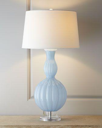 "Sky-Blue Glass ""Gourd"" Lamp"