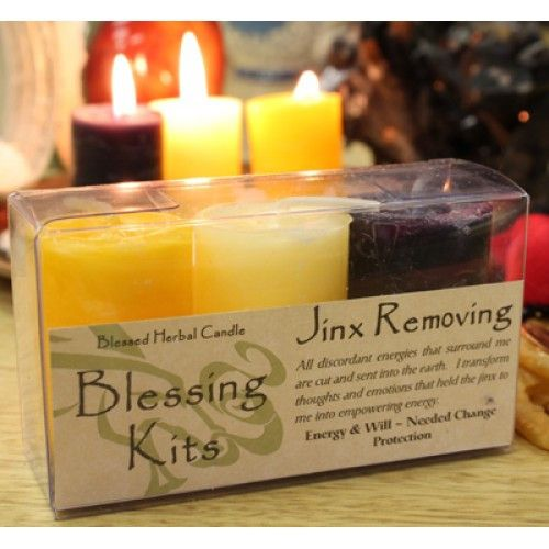 Our jinx removing spell candle kits contain a triad of three hand poured, blessed herbal votive spell candles by Coventry Creations. These spell candles are the smaller votive version of the popular blessed herbal pillar candles, made of the same natural ingredients as their larger counterparts. This kit contains herbal candles that are made with herbs corresponding to removing negative energies/jinxes. Burn all three at once, individually. #spellcandles #wicca #wiccan #witchcraft #pagan…