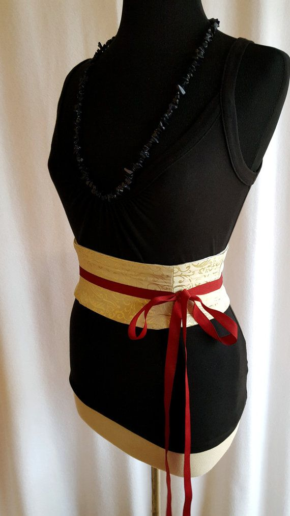 Gold Scroll Brocade Mini Corset Obi   Sash by redcurrydesigns