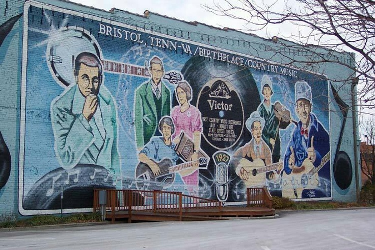 Birthplace of Country Music Mural on State Street Bristol Tennessee