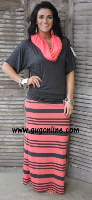 Doing Fine Striped Maxi Skirt in Coral and Gray www.gugonline.com $19.95