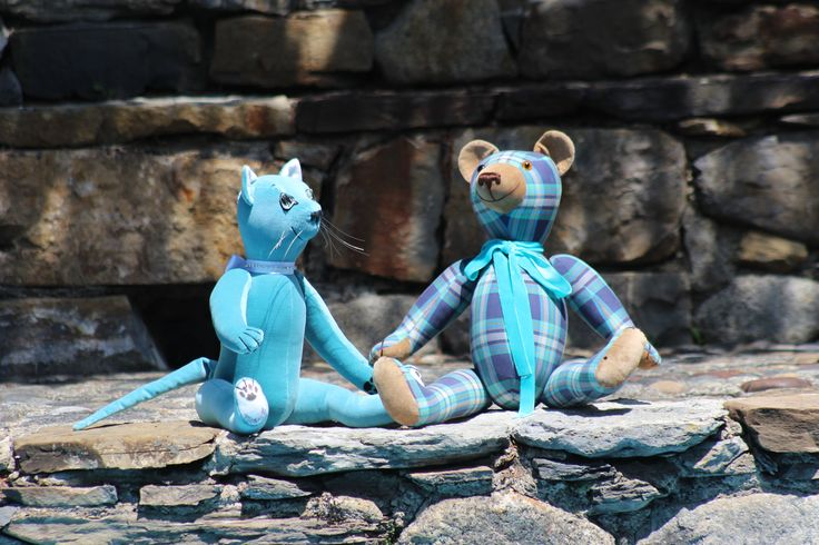 Tiffany Teddy Cat and Blue Scottish Teddy Bear, sunbathing at the GSBears House, in the Vall d' Aran, north of Catalonia, Spain.