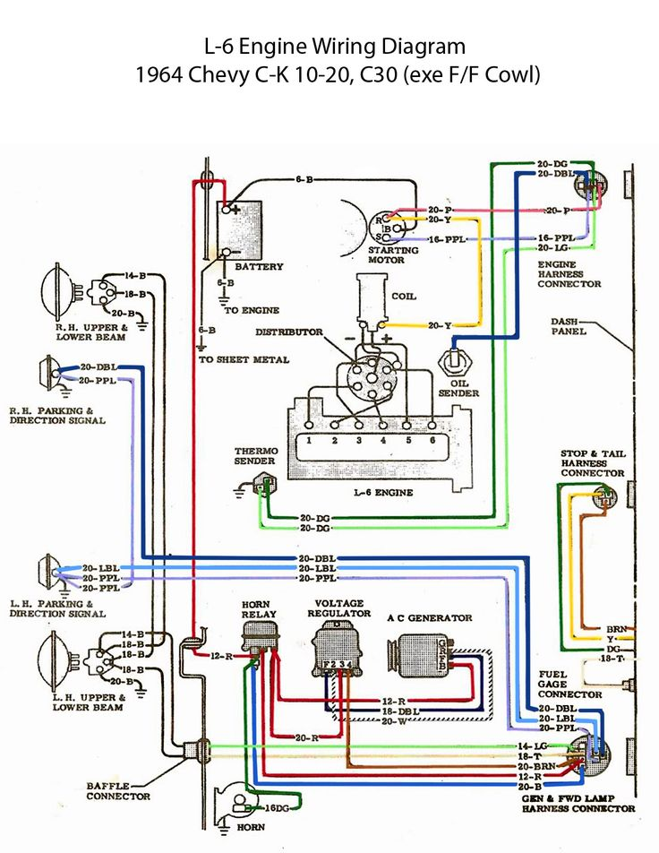 ELECTRIC: L-6 Engine Wiring Diagram | Chevy trucks, 1963 ...