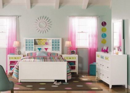 small modern girls bedroom paint decorating designs ideas with pink curtains and white beds furniture