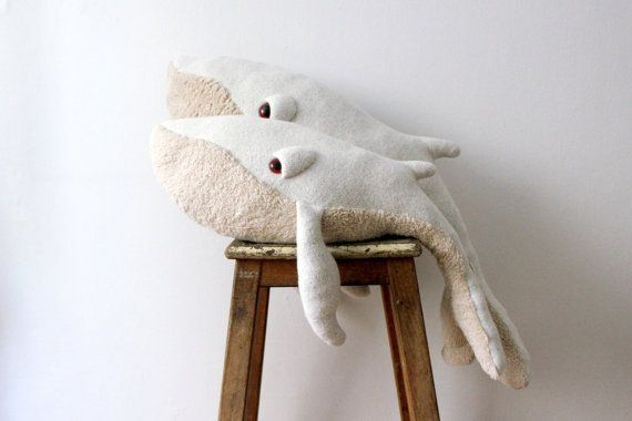 Handmade Plush- A Small Albino Whale Stuffed Animal - Cotton jersey and faux fur