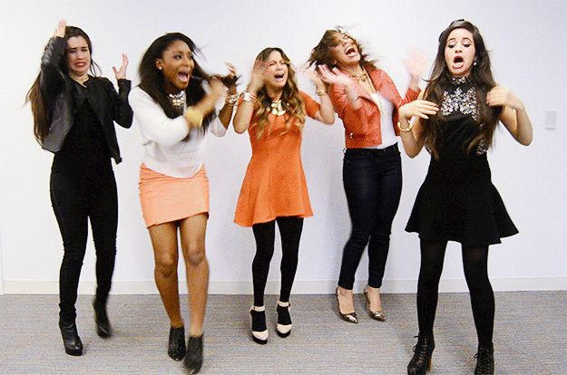 You lean over a flame and then your hair catches on fire: | Fifth Harmony Reaction GIFS