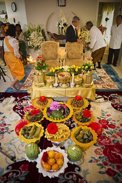 Cambodian wedding set-up at home