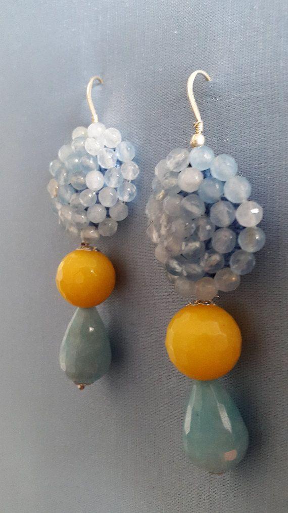 Orecchini uncinetto e perline di agata. di LArteDeiParticolari