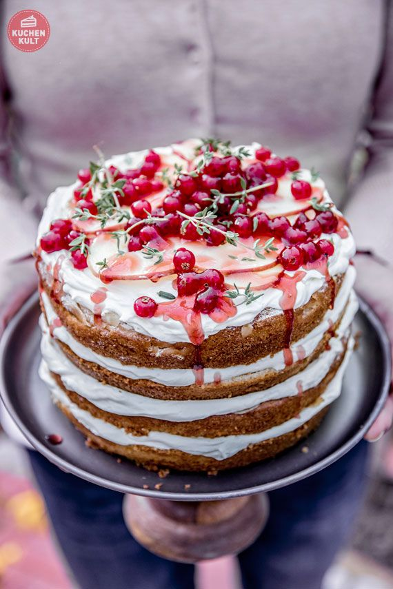Apfelkuchen Apfel Kuchen verzieren einfache Rezepte Ideen Naked Cake Johannisbeeren