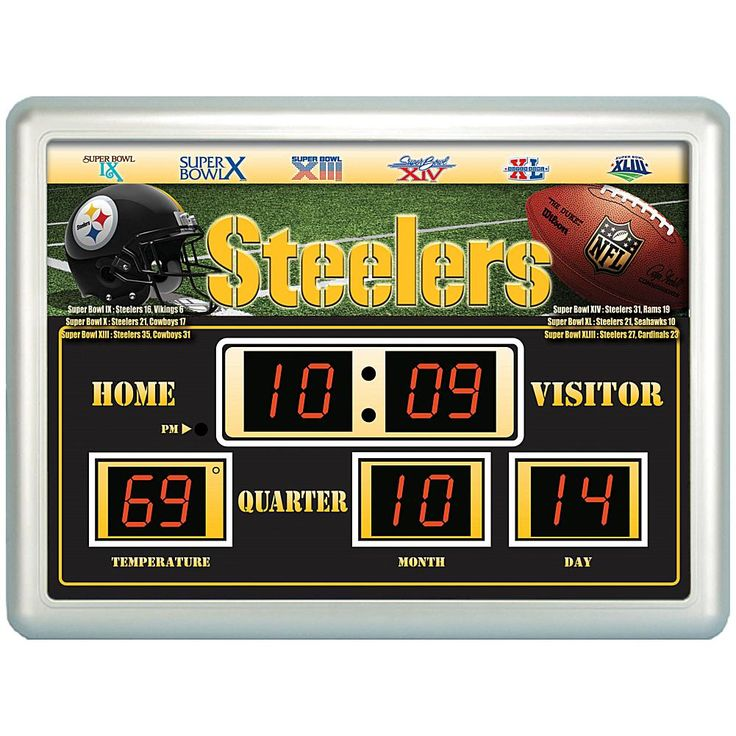 Officially Licensed NFL Scoreboard Wall Clock - Steelers
