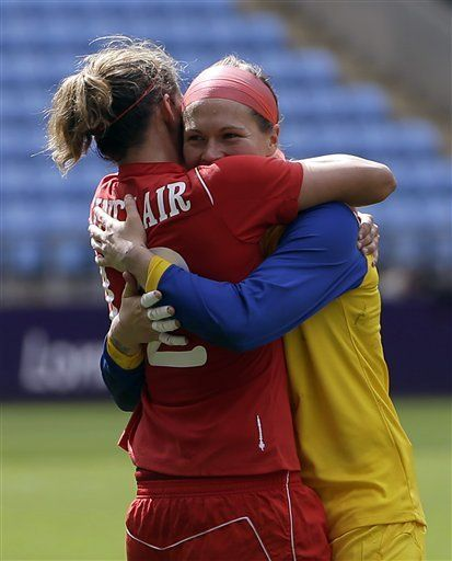 London Olympics Soccer Women Christine Sinclair and Erin McLeod
