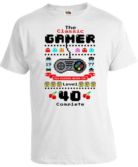 40th Birthday T Shirt Personalized Gift Ideas For Men Geek Shirt Custom Age B Day The Classic Gamer Level 40 Complete Mens Tee DAT-1067