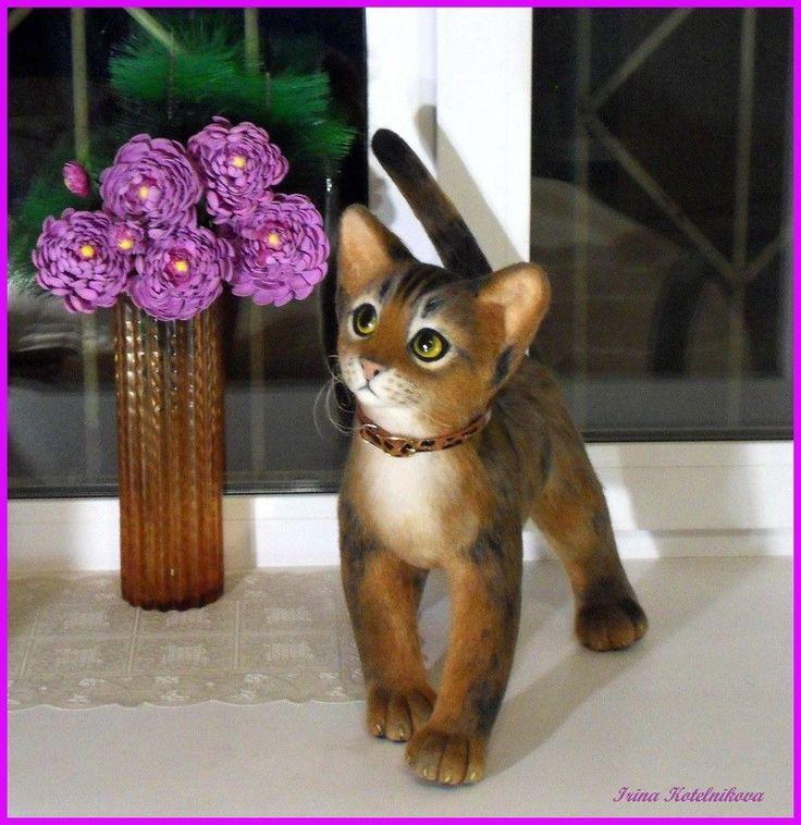 Abyssinian kitten, felt cat, artist kitten, New Year's gift, bear mohair, 15 in  #Inasinglecopy #Foranyoccasion