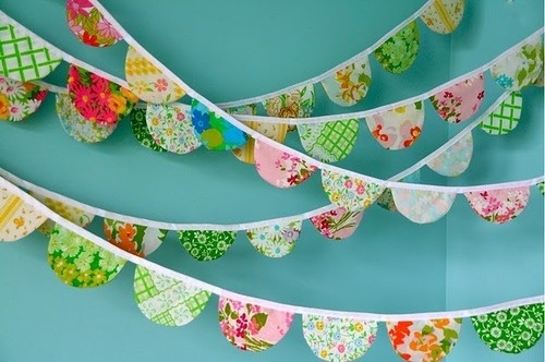 I like the shape of these pennants. big versions could be made for party decorations, or smaller versions could be made for a scrapbook page.