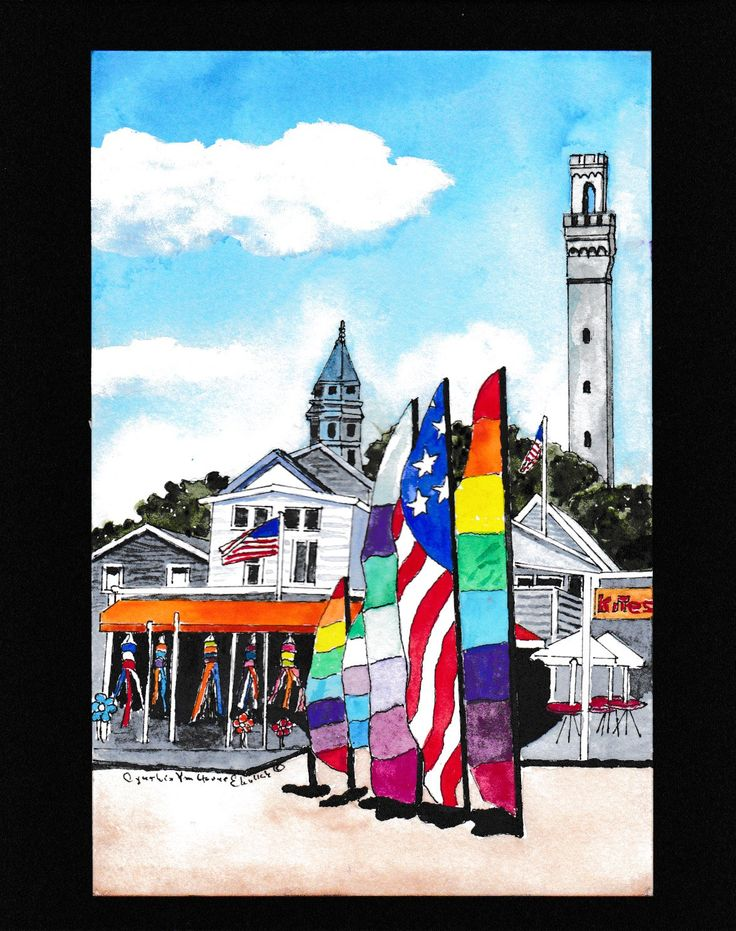 Prvincetown MA Harbor Kite Shop -Watercolor-Seascape-Wedding Gift-Art Collector-Original- Man Woman Gift-New England-Affordable Art by CynthiaEhrlichArt on Etsy