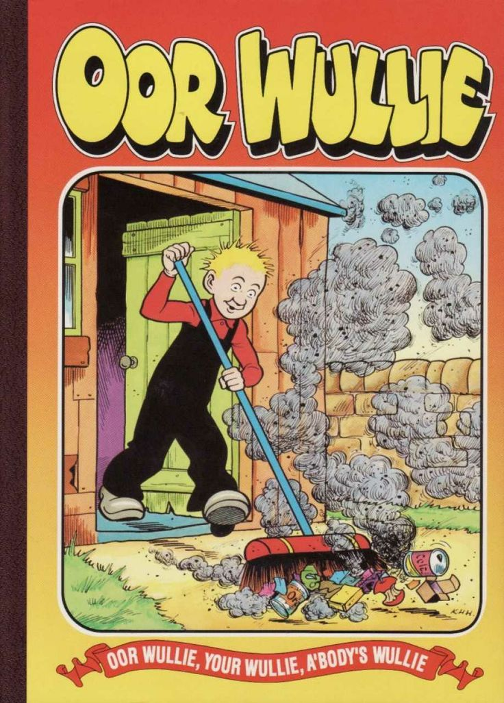 "1998 edition. Wullie's sweeping the rubbish in this one, we wonder what scheme he's planning! ---- ""Wull's job's now done. He's unco happy, Unlike his stoorie mum an' pappy, Who look just like twa sofas busted, Wearing' looks that say ""Disgusted""! But never fear, they'll no' greet lang An' dusted doon will be amang The fowk who wear a cheery grin. It's ""The Sunday Post"" they're in!"""