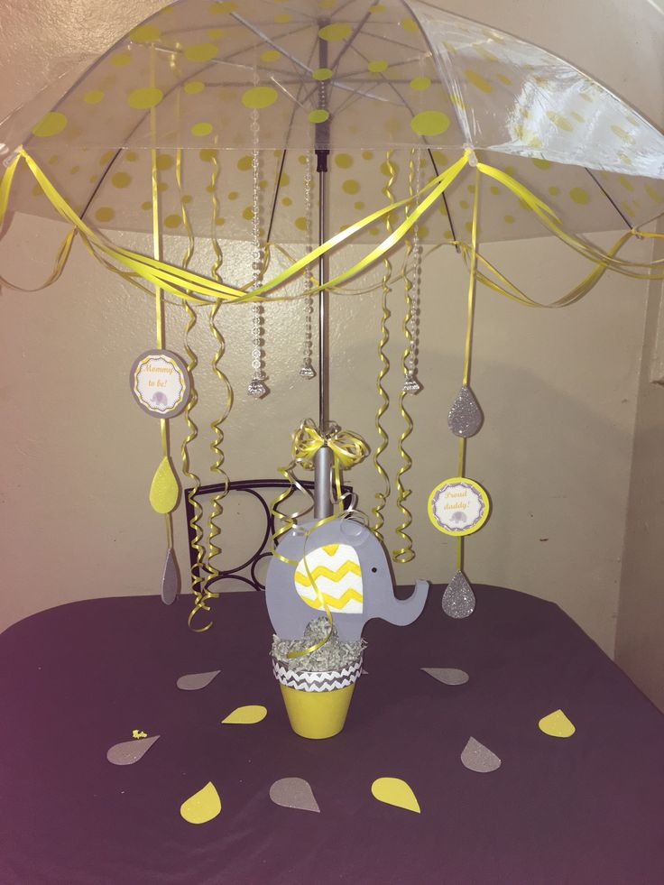 Polka Dots Umbrella Centerpiece Grey And Yellow Elephant