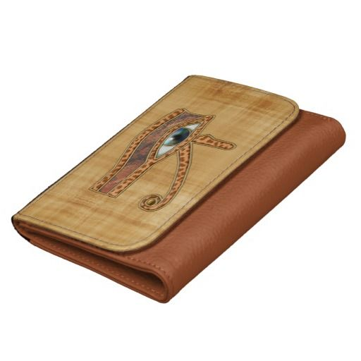 Ancient Egyptian Eye of Horus on Faux Papyrus Wallets