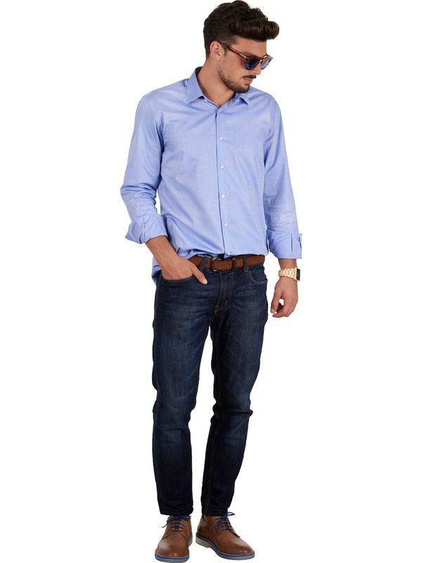 Light blue shirt for man young model Delsiena