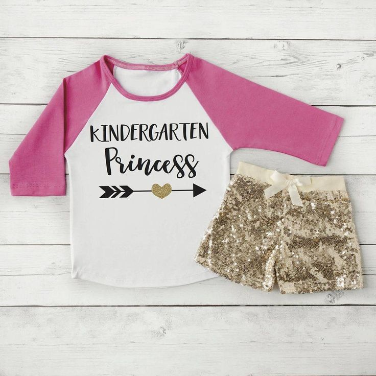 Kindergarten Outfit for Girls, Kindergarten Princess Shirt and Shorts, Pink and Gold Girls Back to School Clothing for Kids 306 #1st_day_of_school #back_to_school #Children