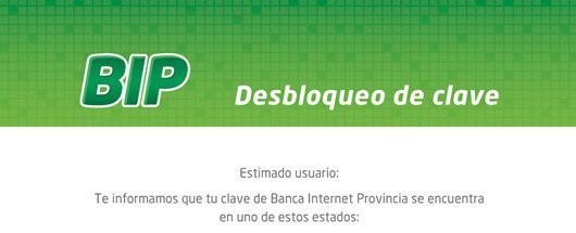 Banco de la provincia de Buenos Aires - Banca Personal - BIP usuarios bloqueados