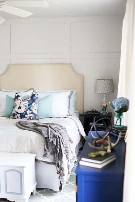 A beautiful light and bright master bedroom makeover reveal! I love how it is elegant and cozy at the same time! | Just a Girl and Her Blog