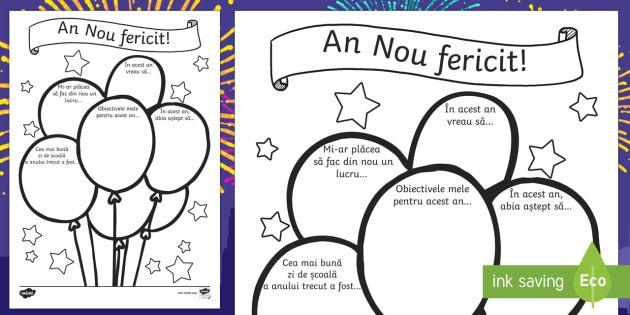 An Nou fericit! - Fișă de lucru  - an nou, început de an, anul nou, fișe, materiale, promisiuni, dorințe, obiective, materiale, rom