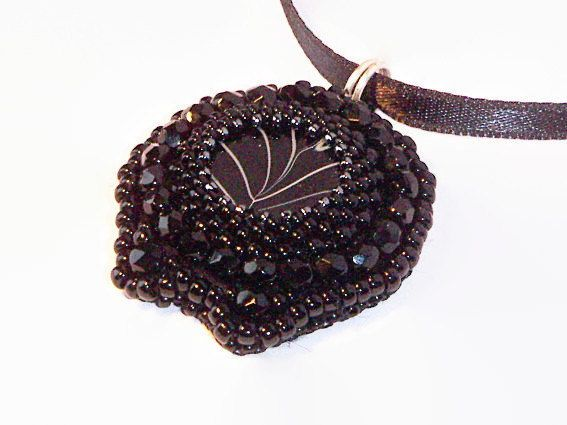 Bead Embroidered Pendant, Black Pendant, Black Necklace, Beaded Pendant with Black Shell Cabochon for Her - Black Midnight - pinned by pin4etsy.com