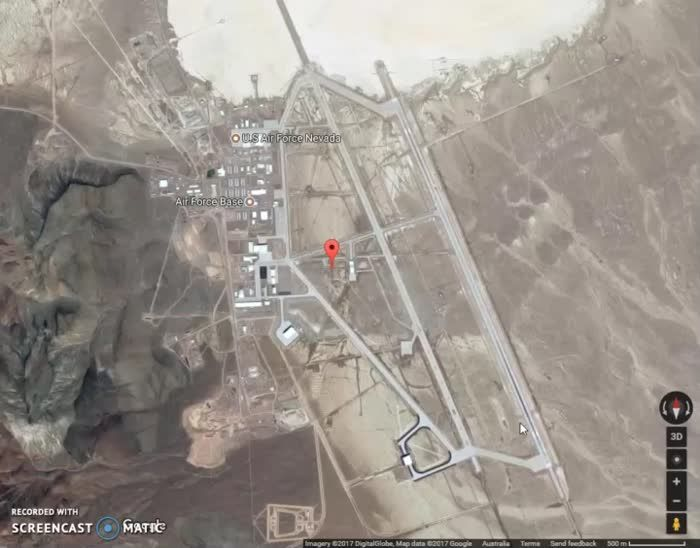 The Google Maps Street View guy turns into a UFO when hovered over Area 51