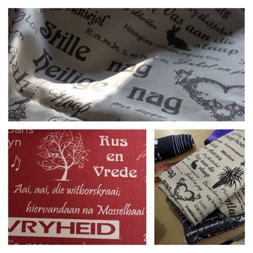 """Afrikaans print on fabric, """"ek is verlief op hierdie lap!!"""""""