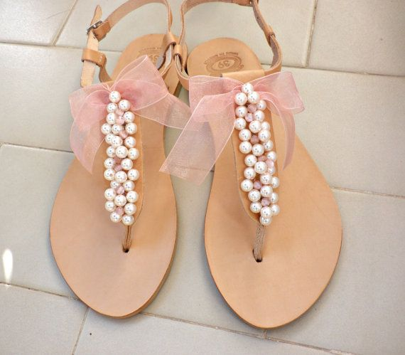 Leather sandals Pearl sandals Wedding flats by dadahandmade
