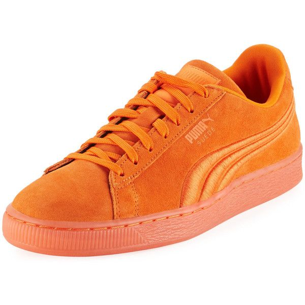 Puma Citi Suede Classic Platform Sneaker ($69) ❤ liked on Polyvore featuring men's fashion, men's shoes, men's sneakers, orange, mens suede lace up shoes, mens orange shoes, mens round toe shoes, mens lace up shoes and mens orange sneakers