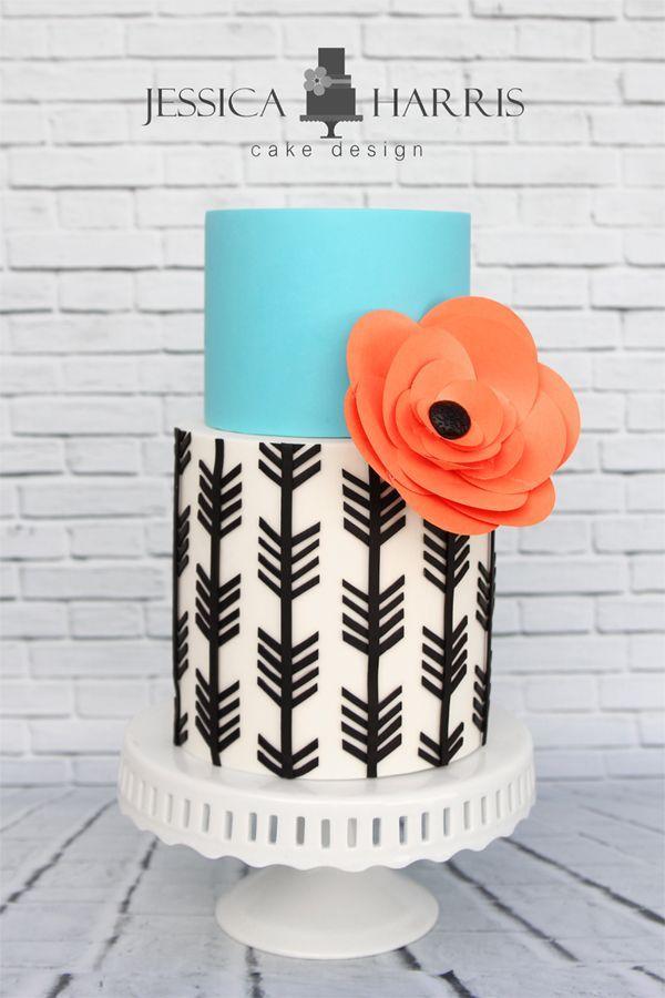 Wedding Cake Inspiration: Aqua Arrow Cake