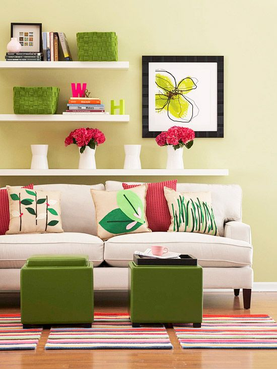 This cheerful living room has a lively feel thanks to colorful, easy-to-replace accents.Living Room Decor, Felt Apply, Colors Combos, Small Room, Floating Shelves, Decor Ideas, Living Room Design, Livingroom, Colors Schemes