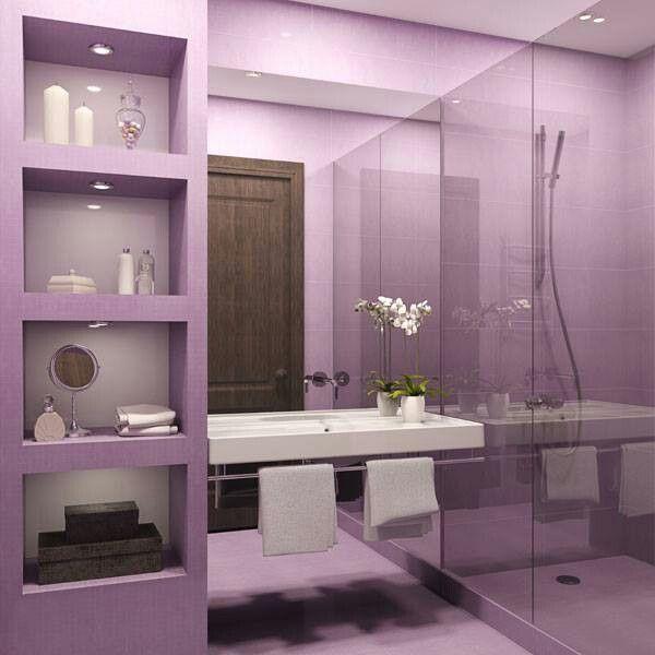 Als paars je lievelingskeur is.........een paars/lila badkamer