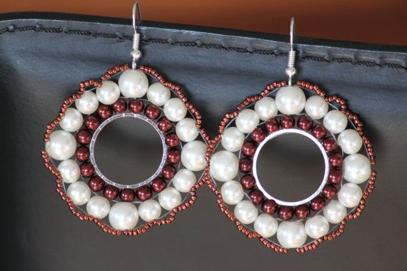 Handmade beaded earring with nacreous white by DeaJewelleryStore Check it on Etsy and fave it! :)
