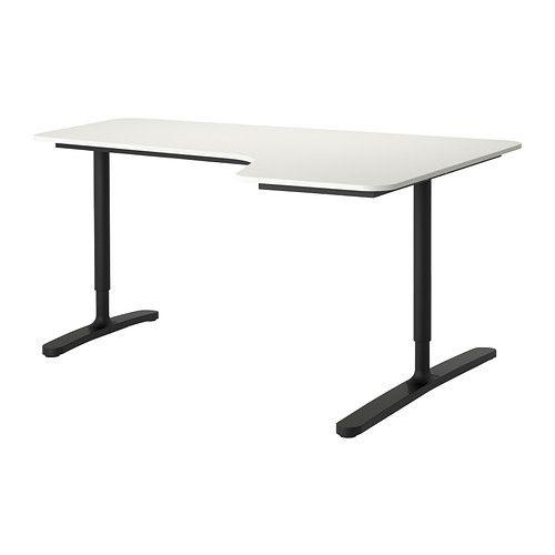 BEKANT Scrivania angolare destra - bianco/nero - IKEA - 160x110