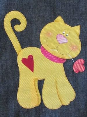 .Too cute kitty applique