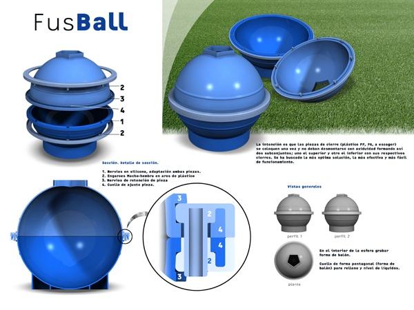 """El reto más importante del diseño expuesto fue el principal condicionante del Briefing de proyecto: """"Diseñar un artefacto para el moldeo de chocolate para configurar un Balón""""    FusBall se basa en el diseño un molde de silicona compuesto por dos grandes partes que se cerraba por la mitad por medio de dos aros rígidos de poliamida.     El diseño fue realizado con ocasión de la Eurocopa de Fútbol de Austria 2008."""
