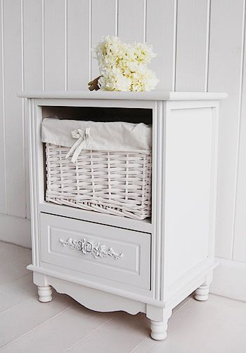 White Bedside Cabinet - Two drawer Rose White bedroom furniture