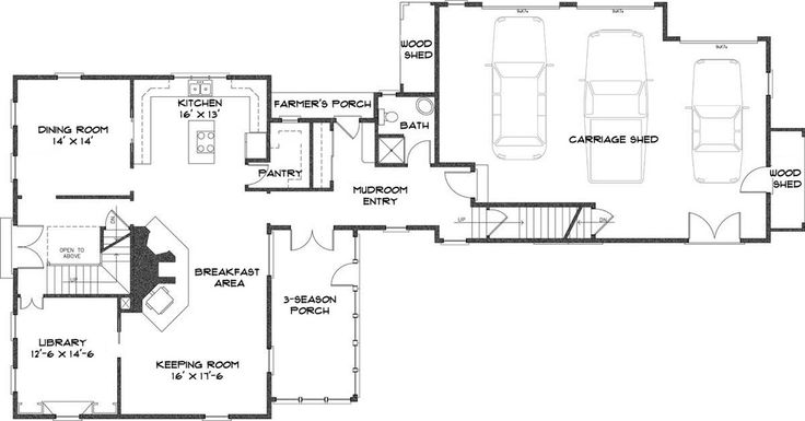 Colonial house plans and floor plans on pinterest - Kosher kitchen floor plan ...