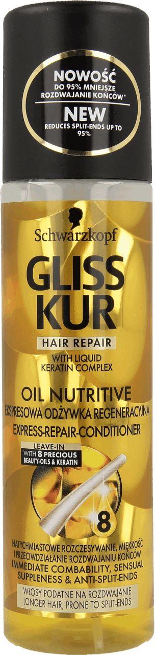 Ekspresowa odżywka regeneracyjna  GLISS KUR OIL NUTRITIVE, z 8 cennymi olejkami…