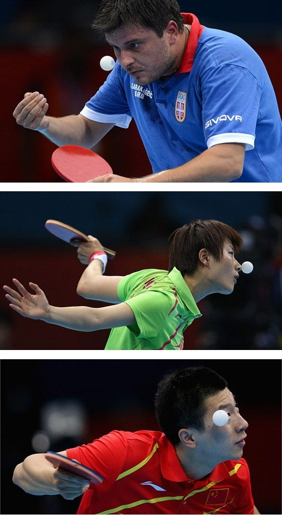 Funny facial expressions of table tennis players in the Olympics.