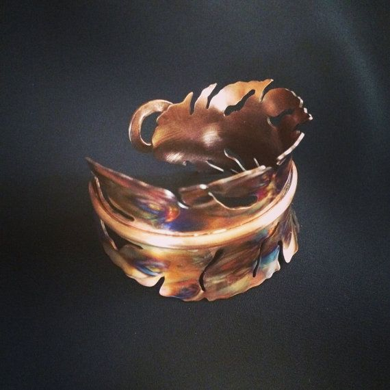 feather bracelet, Copper cuff bracelet, copper bangle, boho feather, flame painted copper, oxidized copper bracelet, oxidized copper cuff