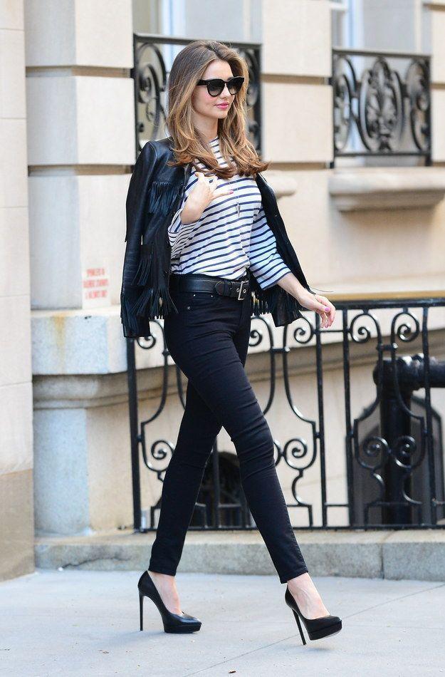 Shop this look on Lookastic:  http://lookastic.com/women/looks/sunglasses-long-sleeve-t-shirt-jacket-belt-skinny-pants-pumps/5973  — Black Sunglasses  — White and Navy Horizontal Striped Long Sleeve T-shirt  — Black Leather Jacket  — Black Leather Belt  — Black Skinny Pants  — Black Leather Pumps