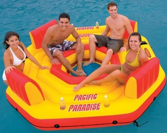 Inflatable Island Intex Pacific Paradise Lounge - 4 Person Pool or Lake Float