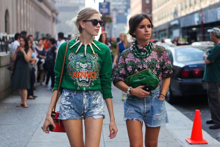 Orange, Blue & Green   New York Fashion Week  Miroslava Duma   #kenzo #streetstyleStreet Fashion, Tigers Head, Fashion Weeks, Celebrities Style, Miroslava Duma, Street Style, New York Fashion, Jeans Shorts