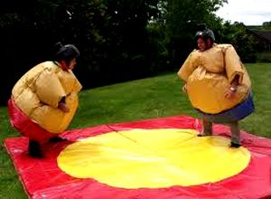 2-Adults Sumo Suits With Soft Play Mats £90 These padded Surrey Soft Play Hire Sumo Costumes will instigate a fun filled wrestling match with your friend. Get ready for some super sized fun with these Soft Play Hire Sumo Wrestler Costumes. This set could compliment one of our adult bouncy castles as an add-on hire for just £40 and will allow adults to expend all that energy!